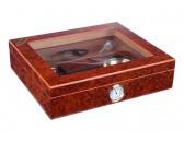 Хьюмидор Tom River с подарочным набором на 20 сигар, ламинация красное дерево